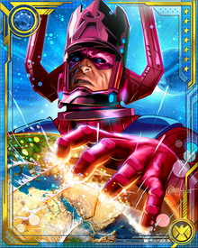 Galactus possesses the Power Cosmic, so immense that it approaches the truly immeasurable. No manipulation of matter, energy, space, or time is beyond him. He employs Heralds to announce his coming on worlds that are to be consumed. One of these is the Silver Surfer.