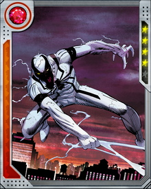 Anti-Venom was created when the healing energies of Martin Li a.k.a. Mr. Negative cause Eddie Brock's white-blood cells and traces of the Venom Symbiote still within his body to combine into a new suit composed of human/alien hybrid antibodies possessing powerful restorative abilities