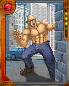 "Former boxer and convict Carl ""Crusher"" Creel was transformed into the Absorbing Man by the Asgardian trickster god Loki through the means of an enchanted potion. He soon learned that he could absorb the properties of anything he touched and went on to battle Loki's half brother Thor, only to lose when the thunder god tricked him into changing his atomic structure into pure helium."