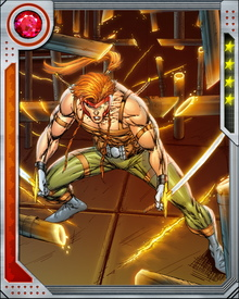 Shatterstar is a highly proficient swordsman, bearing a pair of swords that channel his mutant shockwave power and are tuned to his body's bioelectric emissions. He also possesses limited powers of teleportation, needing a specific anchor to successfully jump between locations. His teleportation and shock-wave powers exhaust him quickly.