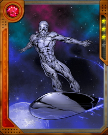 Silver Surfer is imbued with the Power Cosmic given to him by Galactus allowing him to absorb and manipulate the energy of the universe.