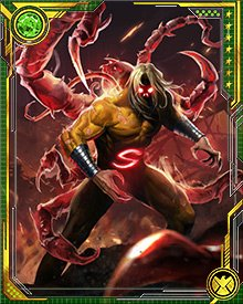 When the Void starts to take over, the Sentry's appearance changes. He seethes with reddish energy, glowing from his eyes and his body. He also sprouts extra limbs, seemingly made of dark energy and resembling the limbs of a scorpion.