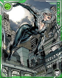 The Black Cat has a miniature grappling hook device hidden in each glove, which enables her to swing from buildings in a manner similar to Spider-Man, though not quite as fast. She can also use the cable from this device as a tightrope, wall scaling device, swing line, or as a weapon in combat.