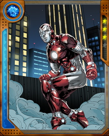 Iron Lad's armor incorporates design elements of Iron Man, but it operates using parts of Vision's synthezoid operating system, responding to Iron Lad's thoughts. It has a variety of weapon and defense systems and can also travel through time.