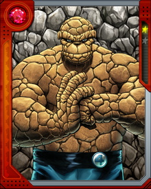When Ben Grimm test piloted a space shuttle for his friend Reed Richards, he and the crew were hit with cosmic rays. As a result, his skin transformed into a thick rock exterior. He is known as The Thing and a member of the Fantastic Four.