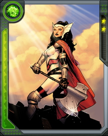 Like the other gods of Asgard, Sif has longevity and enhanced physical ability. She is highly proficient in combat, specifically using cold weapons.  She often fights alongside The Warriors Three.