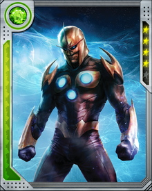 Nova is a founding member of the New Warriors, a Super Hero team consisting of teenagers.  Nova wears a standard Xandarian Star Corps uniform, designed to accommodate his powers without being damaged by them.