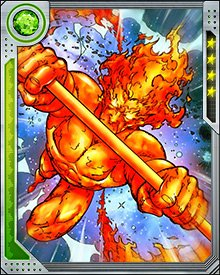 Firelord possesses the Power Cosmic which manifests by turning him into a living star.