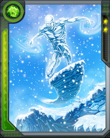 Iceman is also able to reconstitute his organic ice form if any part of it is damaged, or even if it is completely shattered, without permanently harming himself. He can temporarily add the mass of a body of water to his own, increasing his mass, size, and strength. He can survive not only as ice, but as liquid water and water vapor.