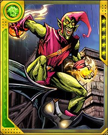 Whoever is behind the mask, the Green Goblin sticks to the same weapons and tools: pumpkin bombs, smoke grenades, electroshock gloves, and of course the Goblin Glider, which is often armed with missiles and flamethrowers.