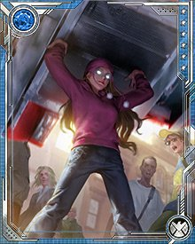 The youngest of the Runaways, Molly Hayes is gifted with strength that would impress even Carol Danvers. She has knocked over buildings, tunneled through solid rock, and punched through armor that can stop missiles. But like lots of kids, she gets sleepy fast after she's been working hard.