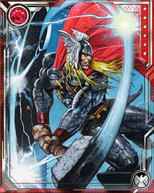 Mjolnir channels Thor's elemental abilities to focus attacks of wind, snow, rain, and lightning. Mjolnir may only be wielded by those who are worthy and can be used as both an offensive and defensive weapon.