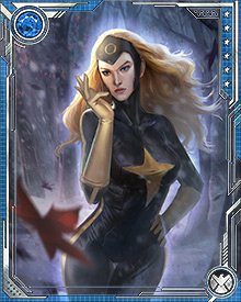 The second person to inhabit the Darkstar identity was Sasha Roerich, who fought as a member of the Winter Guard. Her body had been genetically remodeled to resemble the original Darkstar, and these genetic alterations would render her vulnerable to the Darkforce beast that possessed her.