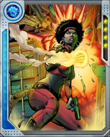 Misty Knight now has a new arm, built by Stark Industries that is an alloy of Antarctic vibranium and diamond. It is also now able to generate a wide anti-gravity repulsor field similar to Iron Man's armor.