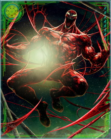 The Carnage alien symbiote endows the host with enhanced physical strength greater than that of Spider-Man and Venom combined. The host is also granted the ability to shape-shift, to project a web-like substance from any part of his body (including the formation of weapons), and to plant thoughts into a person's head using a symbiote tendril.