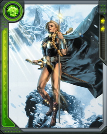 Valkyrie fought alongside the Hulk and Dr. Strange as the member of the Defenders.  Besides being an expert at weapon combat, Valkyrie is able to conjure the spirits of the dead.