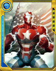 The Iron Patriot wraps himself in the symbols of America, but in reality the suit's design is just a way for Norman Osborn to increase his power.