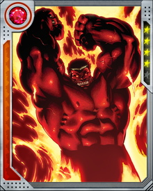 Red Hulk was created from the Hulk's long-time persecutor, General Thunderbolt Ross. Nearly matching the physical strength and power of the Hulk himself, Red Hulk also gives off waves of radioactivity. He can absorb both gamma radiation and cosmic energies, becoming more powerful from each.