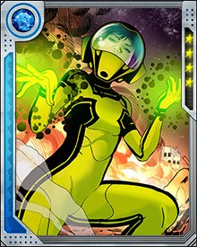 Hazmat's signature green and black suit and helmet don't just contain the radiation she emits. The suit allows her to focus it and put it to use. Wearing it allows her to be part of a team without endangering her comrades.