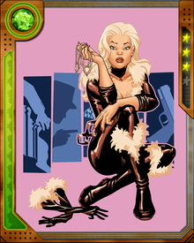 Black Cat's skills are augmented by illicit technology courtesy of the Kingpin and the Tinkerer. Her costume incorporates retractable claws and nanomesh that increases her balance and strength.