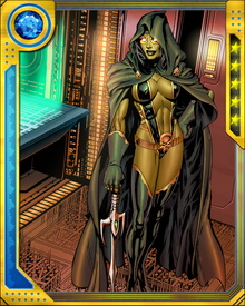 Gamora was a member of Infinity Watch for a time after being freed from the Soul Gem, but resigned and not long after joined the Guardians of the Galaxy, hoping to redeem herself for past misdeeds. She has mastered the use of most handheld weapons known to sentient races, but currently wields the sword known as the Godslayer.