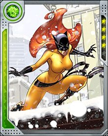 Soon after she decided to become a superhero, Hellcat underwent a period of training with Moondragon on Titan. She enhanced her natural physical gifts with martial arts training, and her minor psionic powers were amplified by Titanian technology.