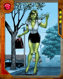 She-Hulk survived a savage battle with her Red counterpart, and has on occasion lost control of her Hulk state. Once she nearly killed Vision, but the two have since made amends.