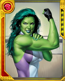 She-Hulk has joined her cousin Bruce Banner in the Avengers, but she also tries to lead some semblance of a normal life as Jennifer Walters. For a long time she was uncomfortable with her transformation into the Jade Giantess, but now she is at peace with her dual identity.
