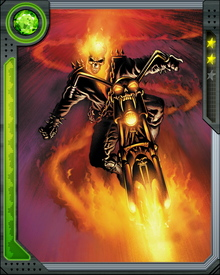 Stunt biker Johnny Blaze was tricked by the devil Mephisto into surrendering his soul. His spirit was taken away and he became the Ghost Rider.