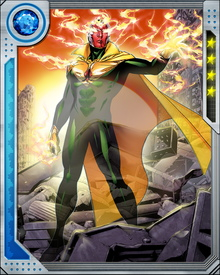 Through the use of Iron Lad's neuro-kinetic armor, this version of the Vision can recreate the original's powers including density control, superhuman strength and flight. In addition, he can also shape shift, travel through time and manipulate holograms.