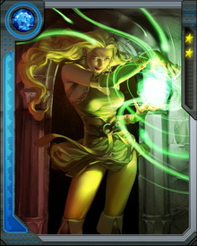 The Enchantress, also known as Amora, later amends and became ally with Thor, the King of Asgard. She uses mind control, telepathy, transmutation and illusions during battles.