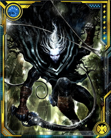 His Exolon infestation allows him to summon a cloud of Exolon Plasmoids to attack enemies. The Plasmoids normally cover his body in a tight membrane, rendering him undetectable as a life form and also granting him incredible powers of physical regeneration. He also has a pain threshold higher than any known being, perhaps because of his earlier suffering at the hands of the Nameless in the Exoteric Latitude.