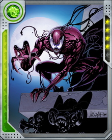 Carnage hates Venom almost as much as he hates Spider-Man. His numerous killing sprees and lunatic schemes always land him back in Ravencroft Asylum... but he always gets out again, sometimes assisted by his powers of camouflage.
