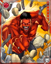 Red Hulk gives off intense gamma radiation and heat at all times, and as he gets angrier this radiation intensifies. He is highly unpredictable as well, and cannot often be counted on to control his rage... although he fought bravely with the Avengers against the Worthy during the return of the Serpent.