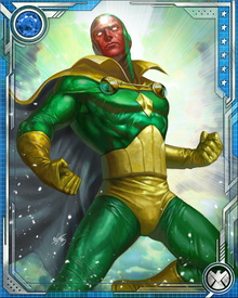 Vision's synthezoid personality possesses the full range of human emotions, most notably love. He and the Scarlet Witch have had a turbulent romance for years, against the wishes of the Scarlet Witch's brother Quicksilver.