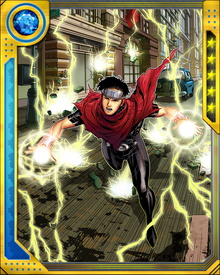 In addition to his chaos powers over the nature of reality, Wiccan can fly and generate lightning. He is fiercely loyal to his mother and the Avengers, as well as to his brother Thomas Shepherd, better known as the Young Avenger Speed. His costume evokes both Thor and the Scarlet Witch, signifying his unique combination of powers.