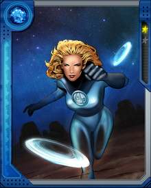 Sue Storm was part of the crew hit by cosmic rays that created the Fantastic Four. Known as the Invisible Woman, she can create invisible force fields and turn her body invisible.  Iron Fist trained her to be an expert martial artist.