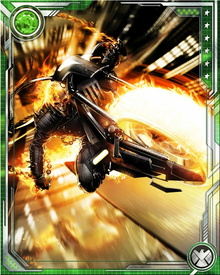 As Ghost Rider, the hero shares his body with the demon rival Zarathos. Their uneasy existence defines his character.