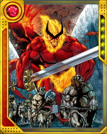 Leader of the fire giants of Muspelheim, Surtur is an ancient enemy of Asgard, having killed both of Odin's brothers when the world was still young.