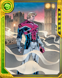 Captain Britain draws strength from the damage he inflicts on his energies. Part of this is undoubtedly psychological, but there is a genuine effect, possibly produced by his Otherworld nature and amplified by the energy-storing capabilities Merlyn added to his costume.