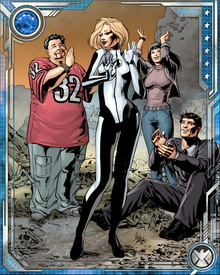As part of the Future Foundation, Sue helped fight off a Kree invasion and then the attack of the Mad Celestials, who were bent on destroying the universe.