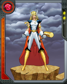 As Thor Girl, Tarene wields a gold hammer through which she could channel her powers as a continuous beam of energy. Like Thor, she can also use her hammer to fly and control the weather.  She can also traverse dimensional barriers such as from Earth to Asgard.
