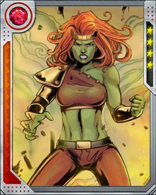 Lyra was looking for Norman Osborn, but when she found him she was subjected to foul tortures by the Dark Avengers. Freed by heroes including She-Hulk, she learned more of this history and this world, and became part of Gamma Corps.