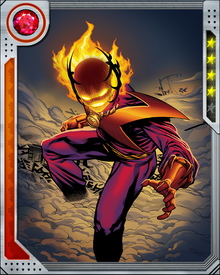 Dormammu is an interdimensional entity composed of mystical energy that can be used to achieve almost any effect he desires, including: energy projection, matter transmutation, size shifting and teleportation, body possession, resurrection of the dead, bestowing of power, and creating demon lords. In certain instances Dormammu has been displayed approaching a universal scale of influence