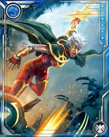 Phyla-Vell possesses Quantum Bands, which give her greater power—but they are corrupted by Annihilus, and that corruption makes her vulnerable to psychological shifts during which she wishes to destroy all life.