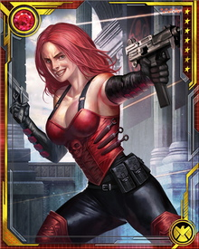 Sinthea Schmidt has gone by several other names—Mother Superior, Erica Holstein—but is now simply known as Sin. Her father, the Red Skull, is sometimes an ally, sometimes a rival; she is loyal to him within reason, but more loyal to the world-domination goals of HYDRA.