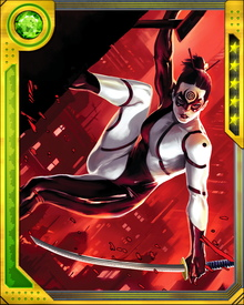 Possessed of lightning-quick reflexes, Lady Bullseye is also notable for having little scent and for a pulse that remains remarkably level. Daredevil has made these observations, leading to speculation whether she is merely a superbly trained athlete... or whether she might be possessed of some superhuman ability.