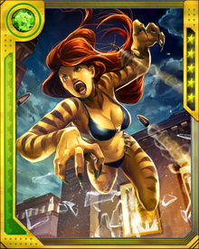 Using Tabur's discarded amulet, Greer was even able to switch from Tigra form to ordinary human form and back again whenever she wished. Thus empowered again, Tigra rejoined the Avengers' West Coast branch.