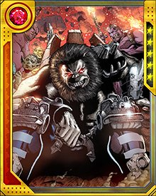 Blastaar's hunger to conquer Earth has put him in conflict with the Fantastic Four on several occasions. His immense physical strength and durability, together with his power to channel and release blasts of concussive force, make him a deadly opponent.