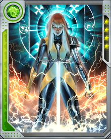 Magik can teleport using her Stepping Disc power and conjure a magical Soulsword that inflicts both physical and psychic damage on her opponents. While she currently fights with the X-Men, she still struggles with her demonic side.